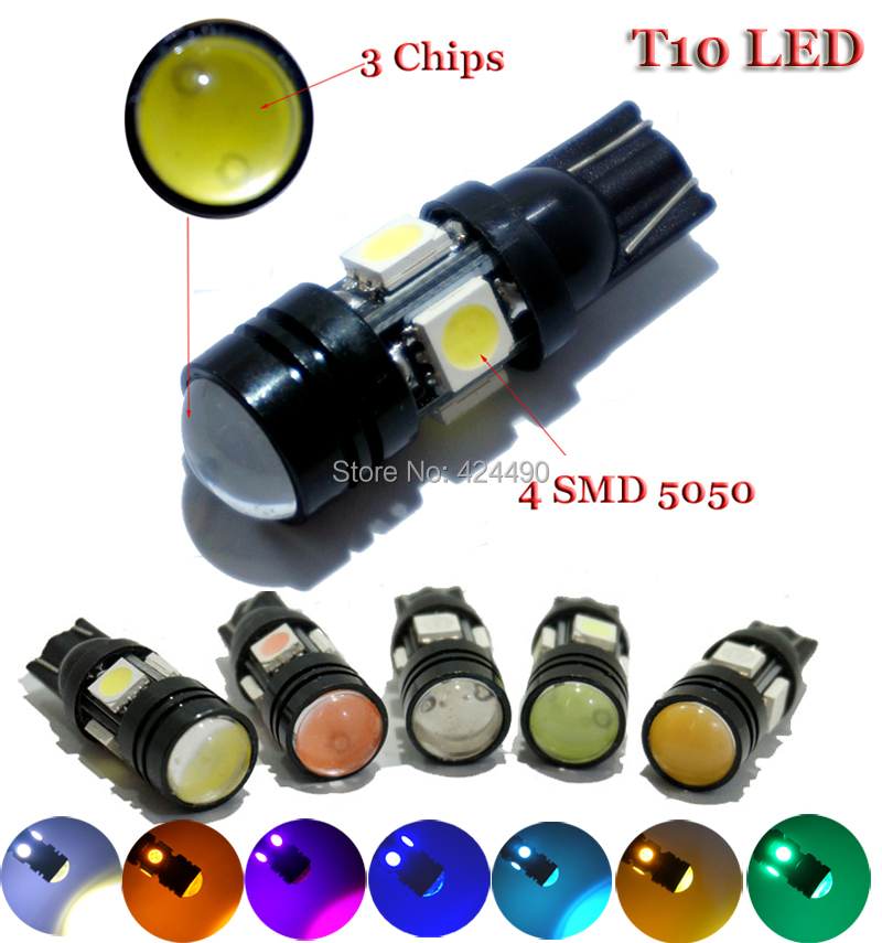 one pcs Super Bright T10 W5W LED Car Bulb Auto Parking Reverse Lamp With Projector Lens white red pink yellow crystal blue green(China (Mainland))