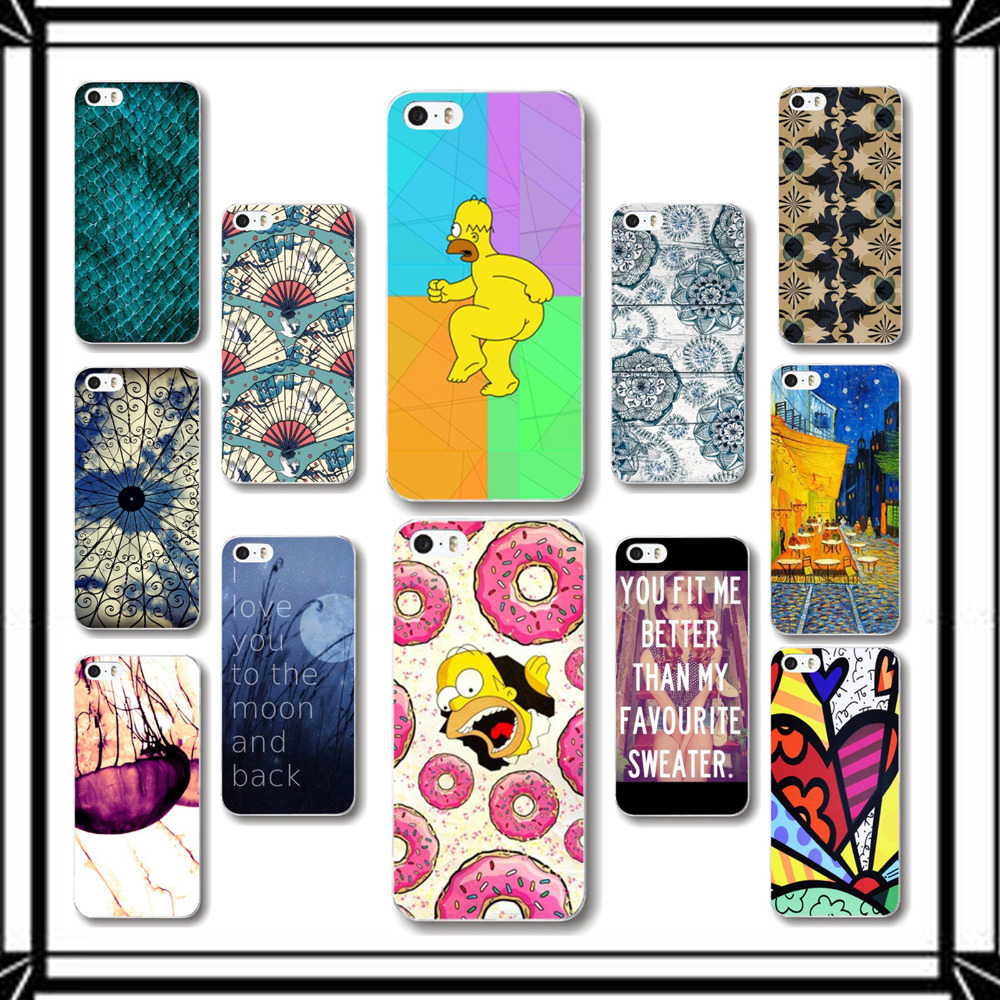 Back Phone Cases for iPhone 5 5S PC Hard Plastic Cartoon And Scenery Painted Pattern Back Phone Accessory Skin Protective(China (Mainland))