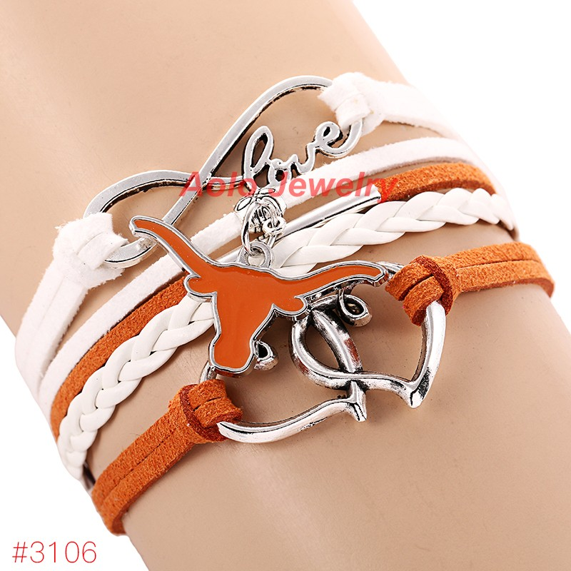 Infinity Love Texas Longhorns College Football Team Bracelet 2016 New Leather Bracelet Fans Jewelry 6Pcs/Lot ! Free Shipping!(China (Mainland))