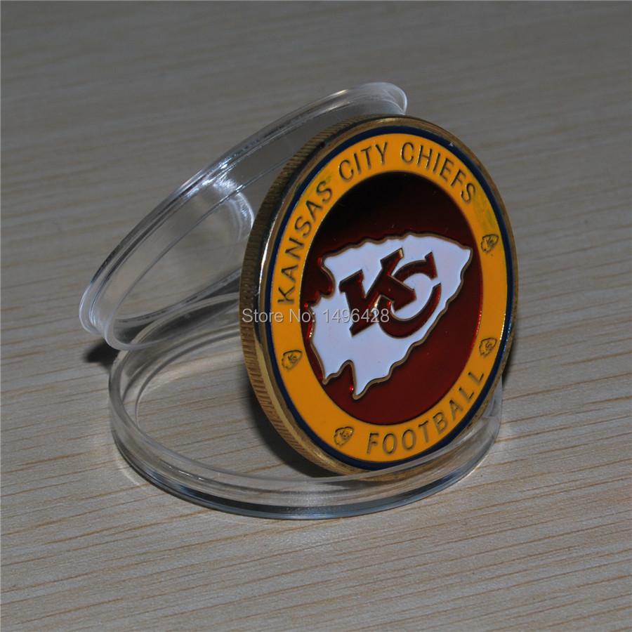 Free shipping 30pcs/lot,NFL Kansas City CHIEFS Football Team Challenge Coin(China (Mainland))