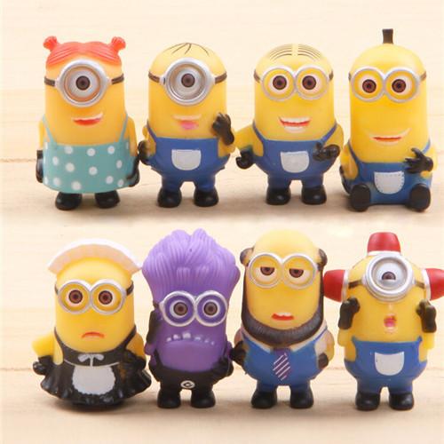 8PCS Despicable Me 2 Minions action Figure toy Sets 2015 kids children PVC Christmas Gifts 3D eye mini cartoon Anime Minion toys(China (Mainland))