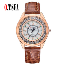 Buy Top O.T.SEA Brand Leather Watches Women Ladies Casual Crystal Dress Quartz Wristwatches Relogios Feminino 039 for $2.99 in AliExpress store