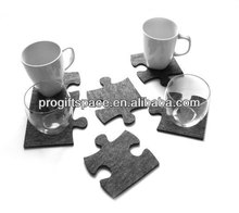 Free Shipping 12pcs 2015 New Fashion Laser Crafts Grey Felt Puzzle Glass Cup Drink Coaster Home Bar Decor Kitchen Accessories(China (Mainland))