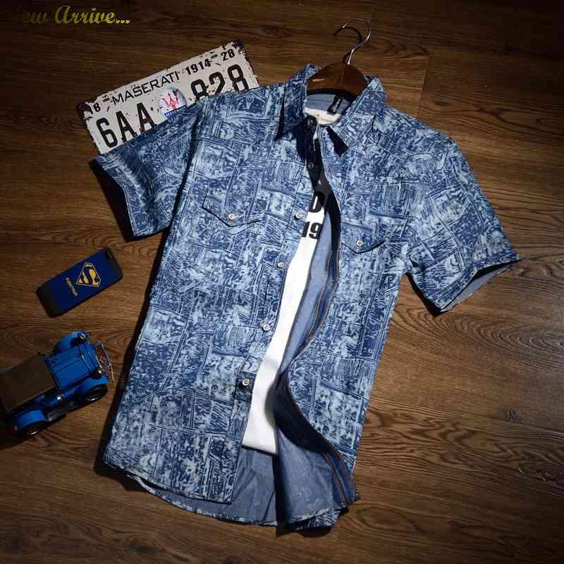 Free Shipping 2015 summer fashion short sleeve denim shirt slim fit football 8012 1431685872(China (Mainland))