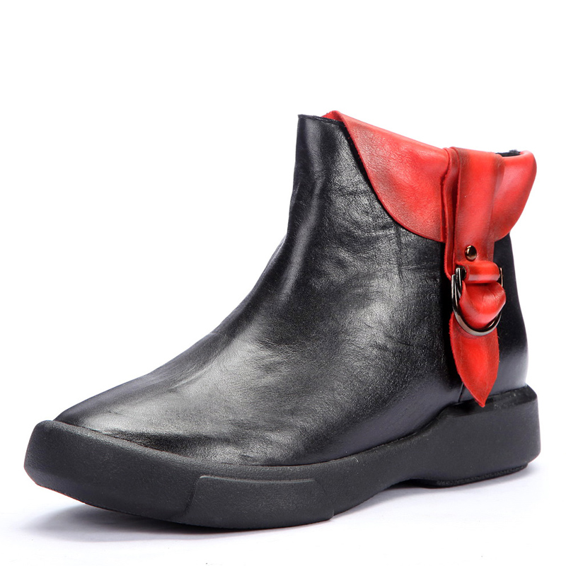 Fashion vintage platform autumn womens ankle boots genuine leather boots with buckle casual outdoor shoes(China (Mainland))