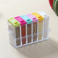 Hot Sale Spice Jar Seasoning Box 6pcs/set Kitchen Spice Storage Bottle Jars Transparent PP Salt MSG Pepper Cumin powder Box Tool(China (Mainland))