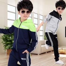 New spring autumn kids clothes sets children casual 2 pcs suit jackets hoodies+pants baby set boys sport suit outwear 4-12 years(China (Mainland))