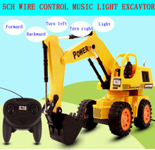 Children 5Ch 1:18 large wire control engineering truck excavator toys boy toy car with music light kids toy vehicles gifts(China (Mainland))
