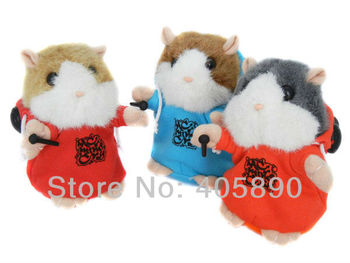 3pcs/lot DJ Rapper Early Learning Wear Clothes Hamster Talking Toy for Kids Repeat Talking Hamster Toy