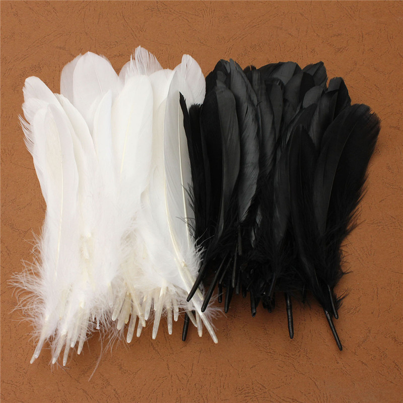 50pcs/lot Natural Large Black White Goose Feather 15-20cm For Craft Hats Embellishments Floral Arrangement Material Accessories(China (Mainland))