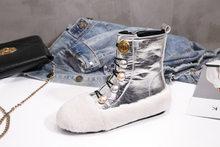 Ayakkabı Kadın Martin Çizmeler Kış zapatos de mujer Moda Marka Sıcak botas mujer Kürk chaussures femme Yeni Bayanlar yarım çizmeler(China)