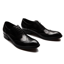 EU38-45 Plus size New business formal genuine leather shoes carved brogue lace-up oxford breathable dress shoes men freeshipping(China (Mainland))