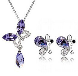 wholesale necklace set Summer heat, ornaments wholesale Austria crystal drops - water butterfly(China (Mainland))