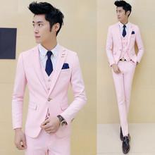3 unidades (chaqueta + Chaleco + Pantalón) Pink Tuxedo Slim Fit Niños Trajes Con Pantalones Para Hombre Juego de la Boda para Los Hombres Del Partido de