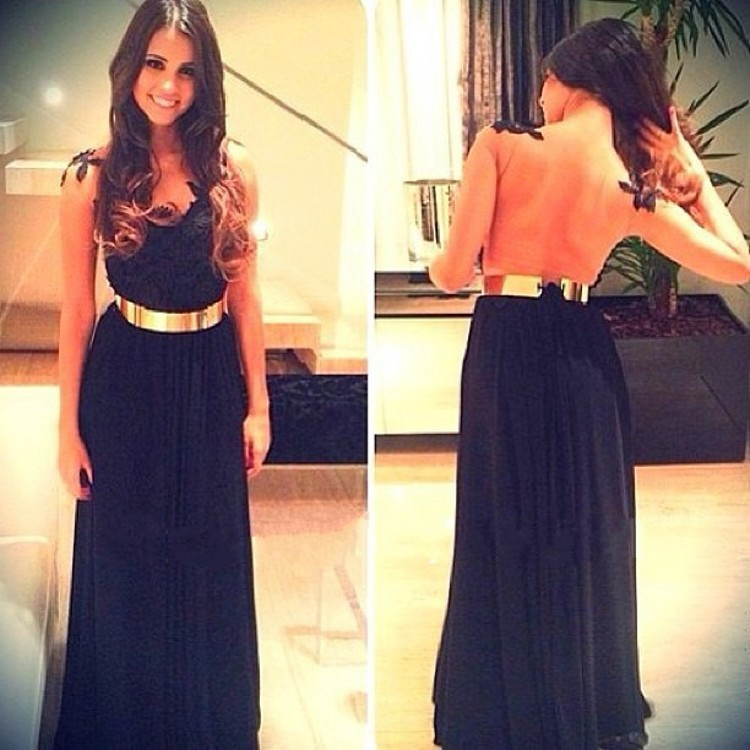 Online Store V-Neckline Line Lace Applique Nude Back Black Chiffon Gold Belt Prom Dresses 2014 Maxi Dress Formal Evening Gown - Mona Lisa wedding dress store