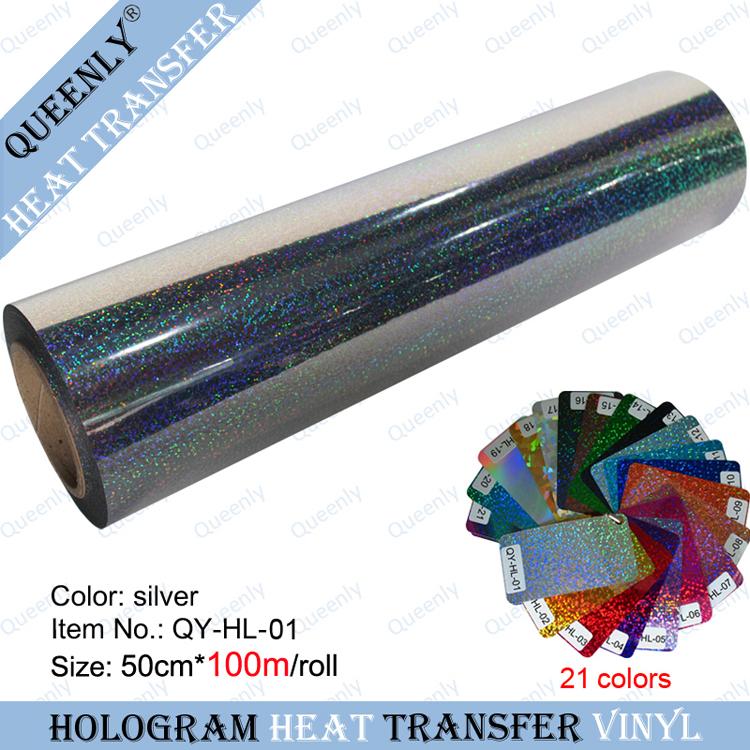Korea quality hologram heat transfer vinyl heat transfer film 50cm*100m/roll(China (Mainland))