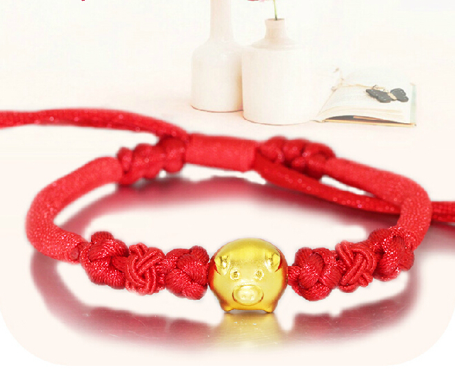 New Arrival Red Colour String 999 3D 24K Yellow gold 12 Chinese Zodiac Pig Bracelet<br><br>Aliexpress