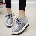 Women Wedge Shoes Black Silver Woman Platform PU Leather Casual Increasing Shoes Top Quality Ladies Lace
