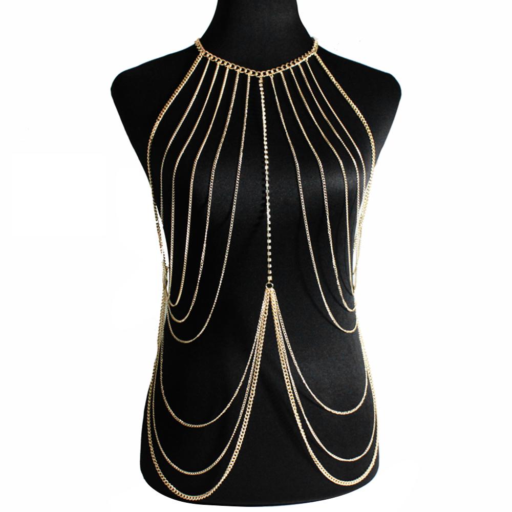 Sexy Jewelry Waist Belly Rock Women Tassel Crossover Harness Bikini Body Chain Necklace Charming Crossover Body Jewelry Necklace(China (Mainland))