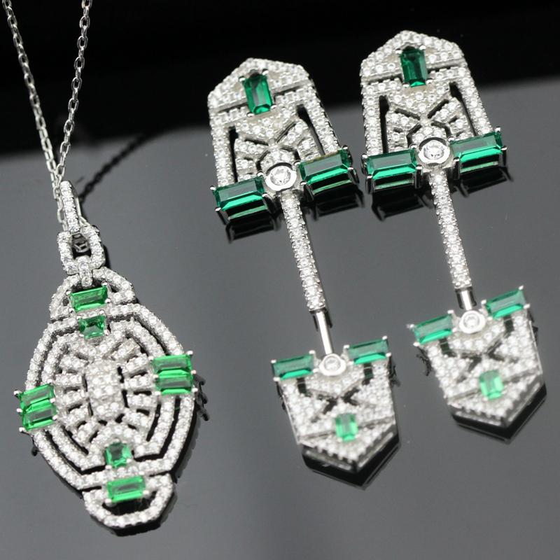 Free Shipping USA Luxury 925 sterling silver AAA CZ Cubic Zirconia Bridal Jewelry Sets ,emerald green cz jewelry sets(China (Mainland))