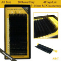 4pcs set All size 7 15mm MIX in one tray 20rows tray mink eyelash extension natural