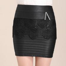 2016 New Fashion Autumn & Winter Women Skirt High Waist Embroidery Package Hip Skirt All-match Leather Skirt Sexy Office Skirts