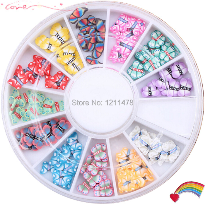 Diy nail beauty butterfly nail art decorations sticker polymer clay nail patches 12 styles per set(China (Mainland))