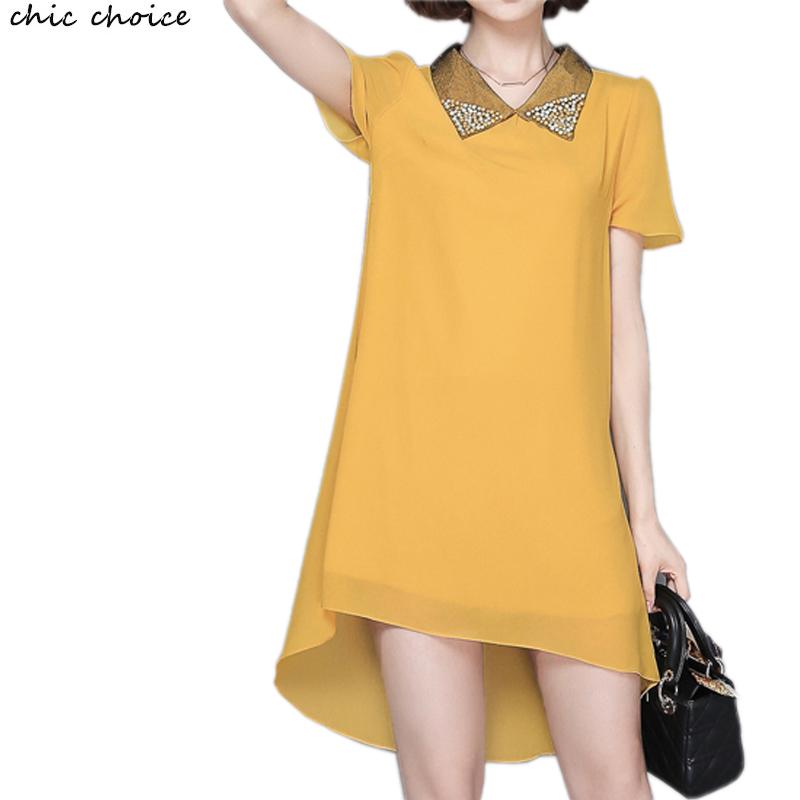 Peter Pan Collar Crystal Yellow Chiffon Dovetail Female Long Shirt Dress Fashion Brief Femme Cloth Extra Large Size L-5XL(China (Mainland))