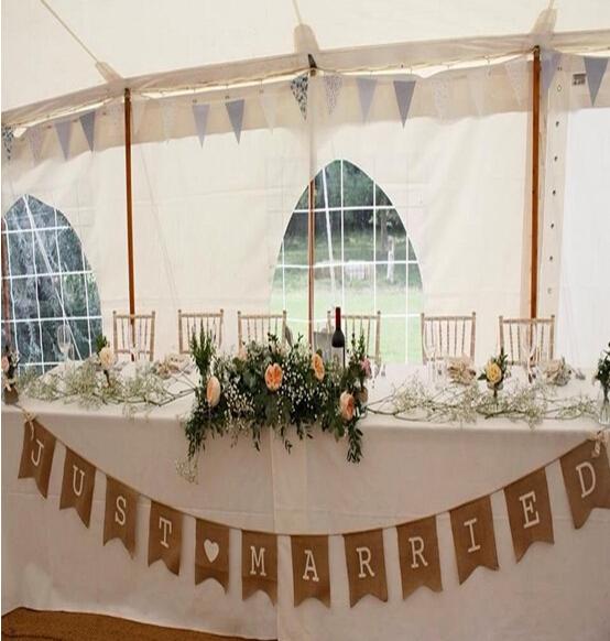 370CM rustic hessian burlap wedding bunting Just Married banner/Wedding garland Wedding Photo Prop Bunting- free shipping(China (Mainland))