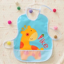 EVA Waterproof Lunch Bibs Children Self Feeding Care Burp Cloths Baby Bibs Boys Girls Infants Cartoon giraffe pattern