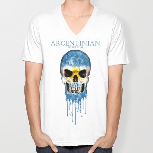 Argentina 2015 New Fashion V-neck Men's T-shirts Short Sleeve Tshirt Cotton t shirts Man Clothing Free Shipping(China (Mainland))