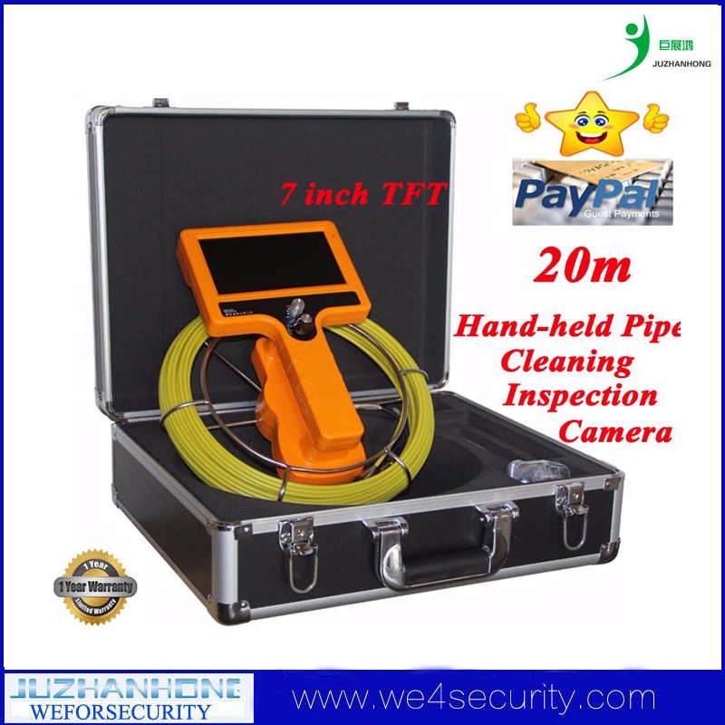 "20m 7""TFT Hand-held Pipe Cleaning Inspection Camera Drain Sewer Plumbing Chimney Borescope Endoscope Video System Waterproof"