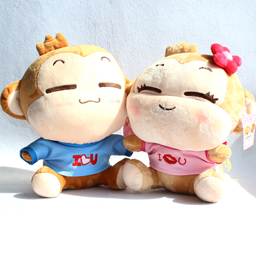 Plush toy yoyo and cici doll valentine day a pair of super monkeys about 30cm cute pillow tm46(China (Mainland))