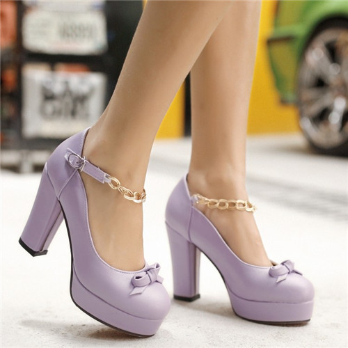 Hot Autumn Spring New Womens High Block Heel Red Bottom Metal Chain Bowtie Lolita Sweet Candy Shoes Round Toe Pumps Plus Size