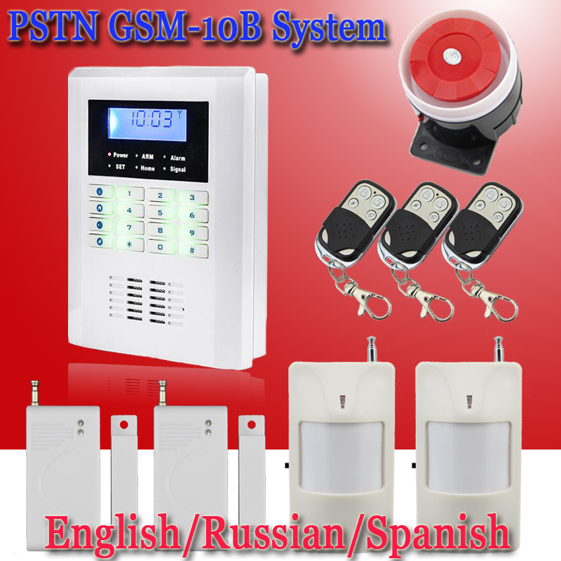 Russian English and Spanish Voice Smart Wired+wireless 99 defend zones PSTN GSM Home/office/commercial/company alarm system(China (Mainland))