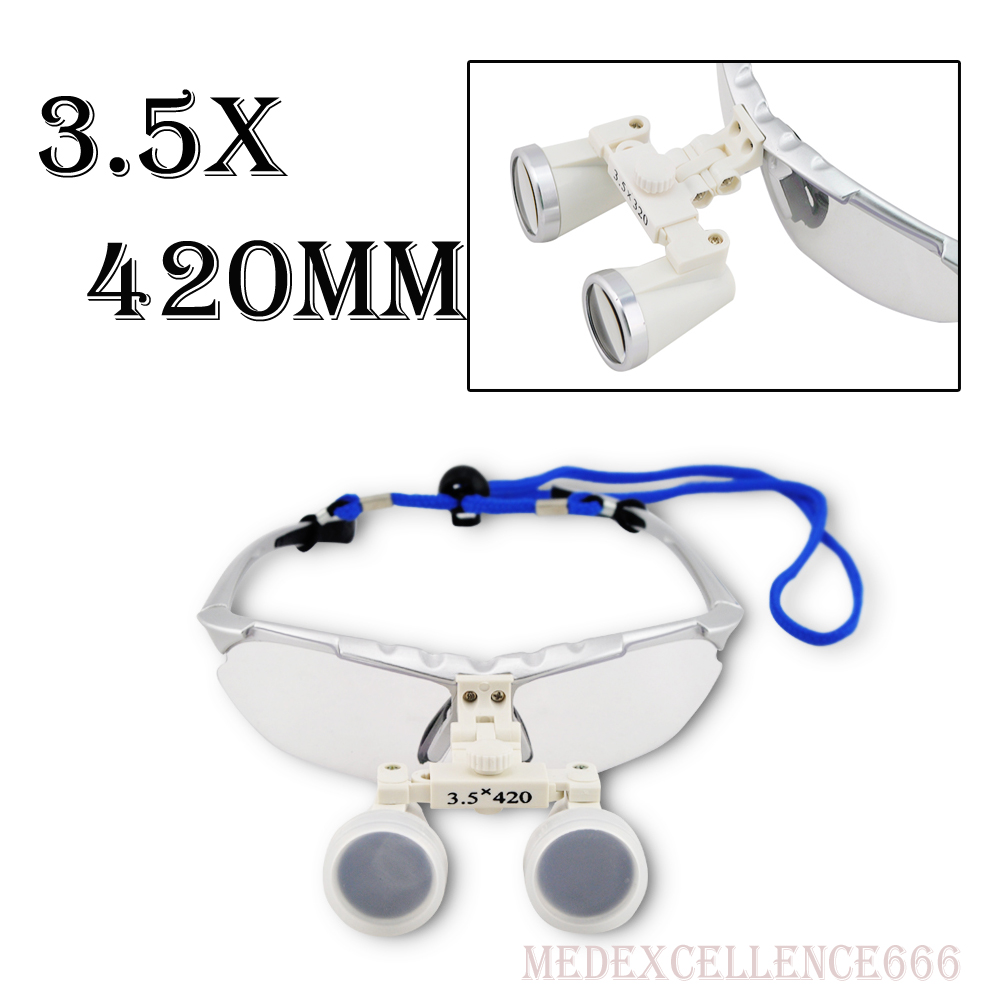 3.5X420mm Oral and dental magnifier Loupes Binocular Galileo Magnifiers Lens Glasses magnifierrry Case Silver Color