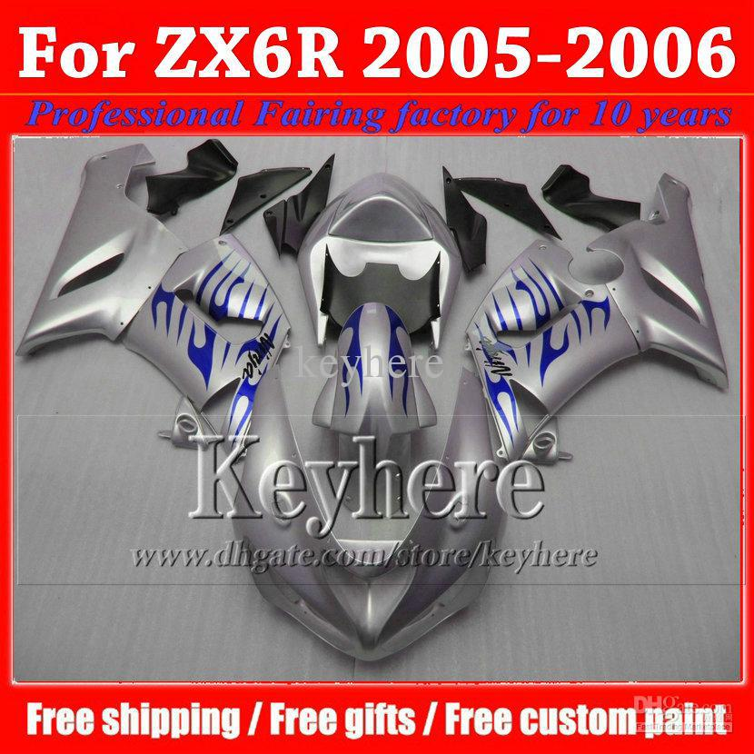 Bodywork s for ZX6R fairing kits 05 06 KAWASAKI ZX6R fairing kits ABS blue silver black plastic boky 2005 2006 ZX-6R parts JM3(China (Mainland))