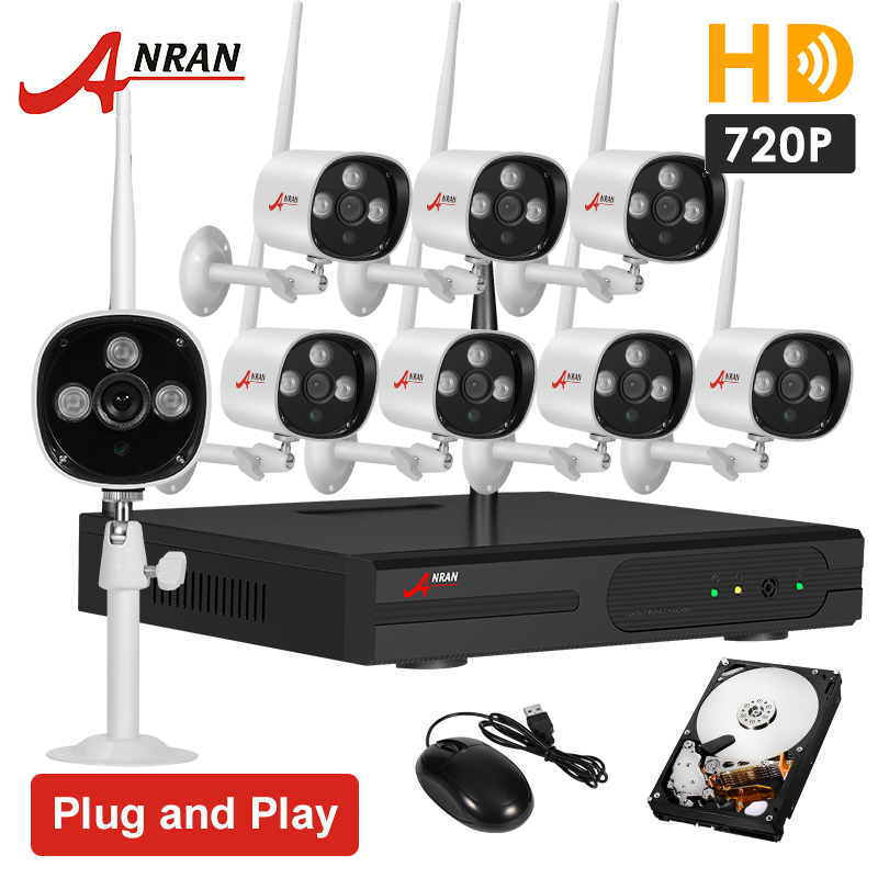 Plug And Play 8CH CCTV System Wireless NVR 2TB HDD P2P 720P HD Infrared IR Outdoor WIFI Security IP Camera Surveillance Kit(China (Mainland))