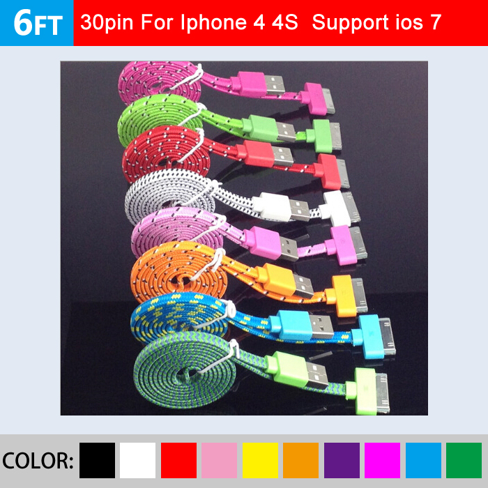 noodle USB Braided Cable for iphone4 2M 6ft Nylon Woven flat Data Sync Adapter Charger Cords for iphone 4 4s for Ipod Itouch(China (Mainland))
