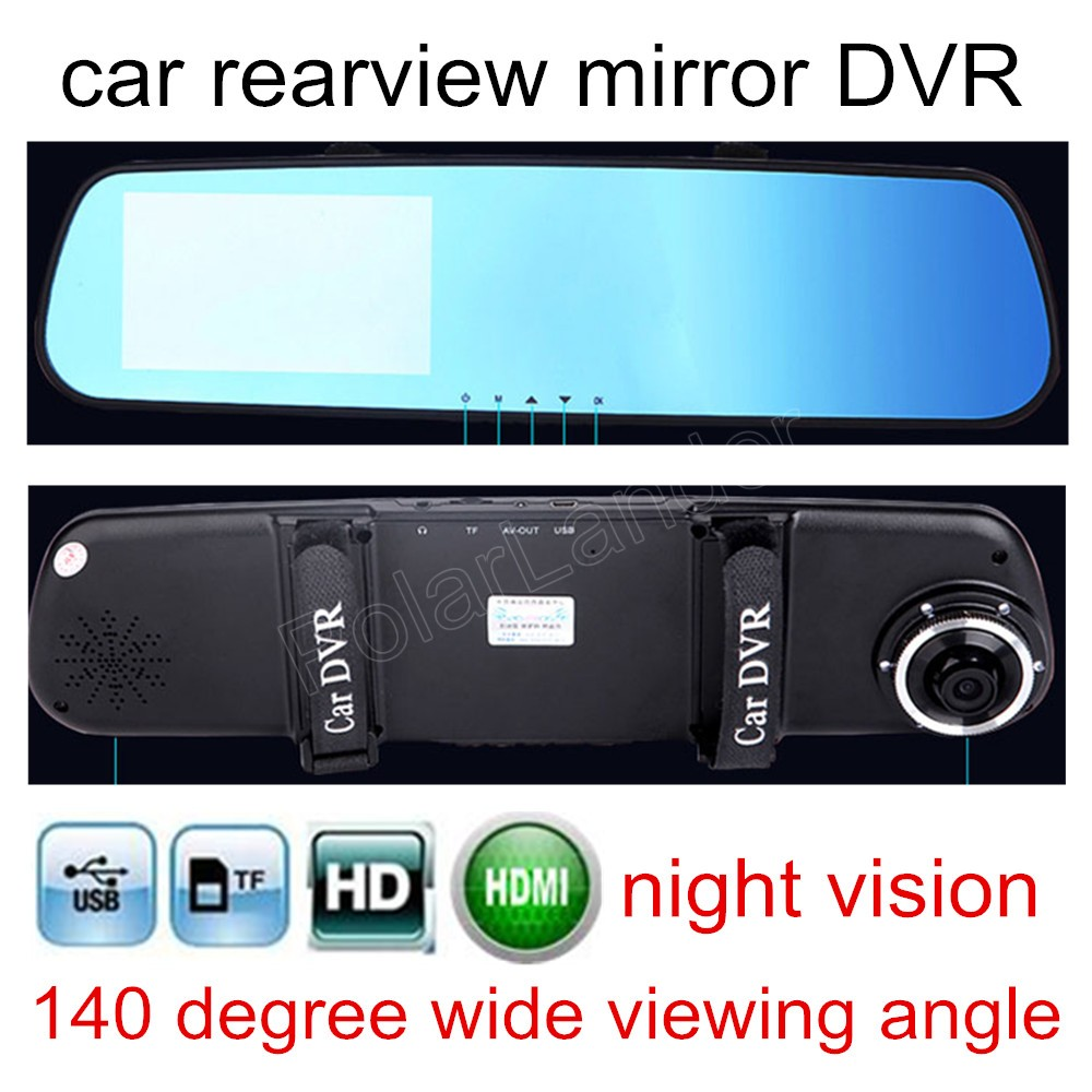 """best selling Auto Navigator Registrator Car DVR Blue Review Mirror Digital Video Recorder Camcorder 4.3"""" LCD free shipping(China (Mainland))"""