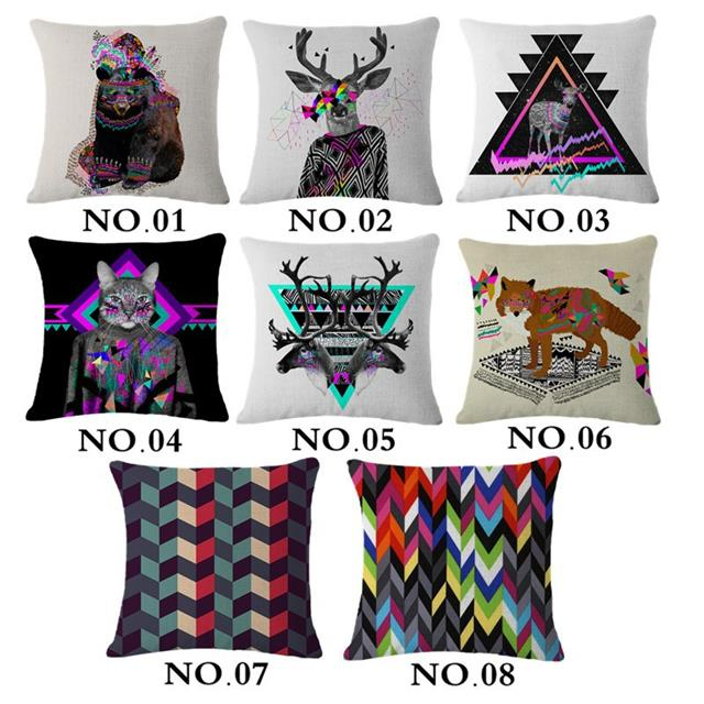 Harajuku Decor Pillow Cover Square 45 45cm Animals Printed Vintage Home Decor Cotton Linen Colores Cushion