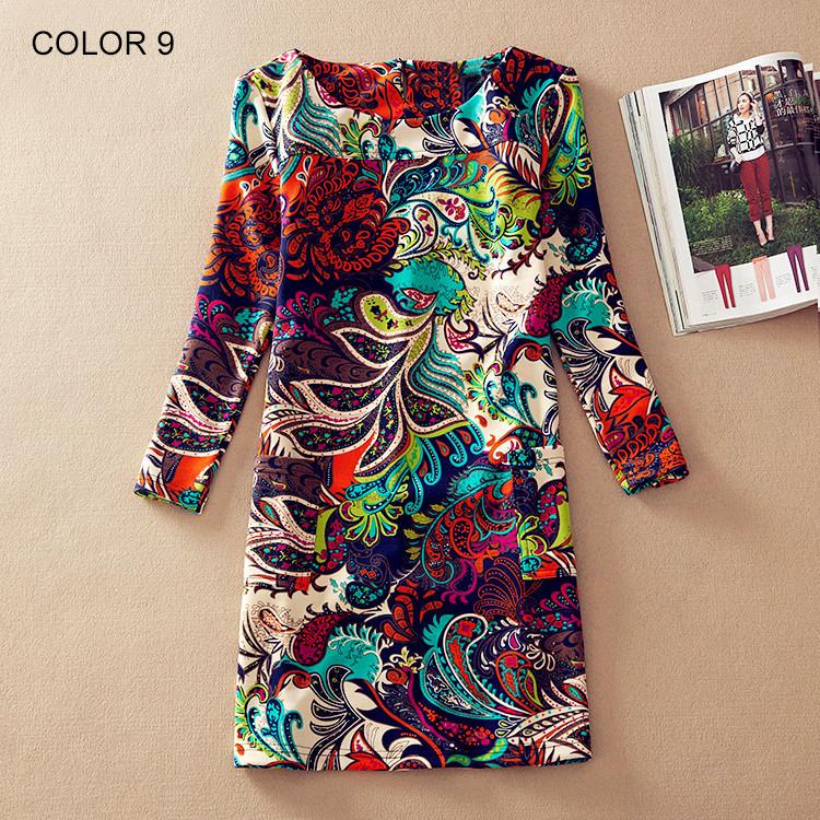 Women Winter dresses 2016 long sleeve Fall Dresses Ladies Vintage Floral Print Women Dress Casual Autumn Dress Plus size Clothes(China (Mainland))
