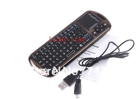 2013 arrived Updated iPazzPort 2.4G Mini Handheld Wireless Keyboard with IR Remote & Laser Pointer with retail box