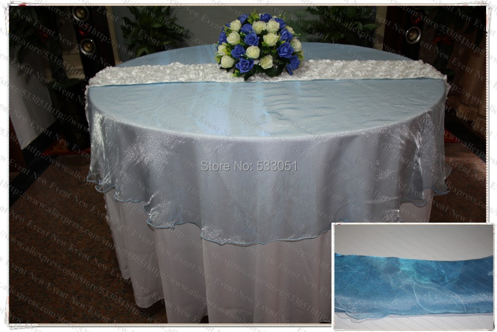 210cm Round NO.67 Lake Blue Organza Table Overlay/Table Cover/Tablecloth For Wedding Party Home Hotel Banquet Decorations(China (Mainland))