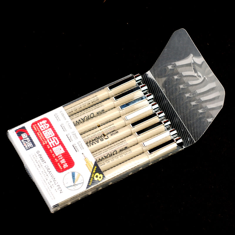 0.05/0.1/0.2/0.3/0.4/0.5/0.7/0.8mm Fineliner Sketch Marker Fine Point Drawing Marker Manga Graffiti Marker Pen(China (Mainland))