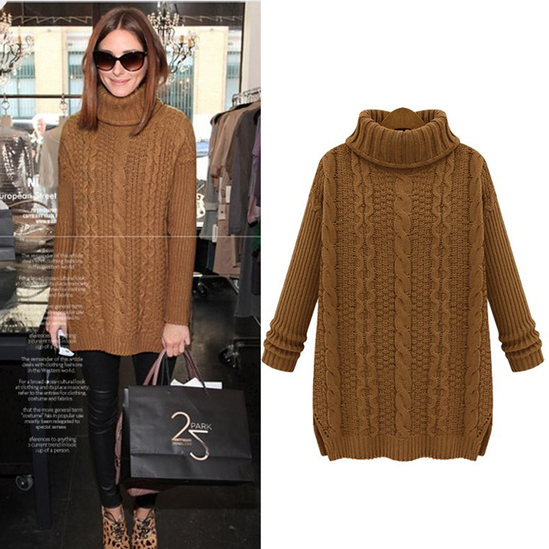Women Sweaters and Pullovers 2016 Autumn winter Casual Medium-Long Turn-Down collar Twist Knitted Wool Thicking Vintage Sweater(China (Mainland))