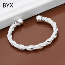 Hot fashion silver plated luxury twisted bangles for women fashion jewelry party accessories femme gifts wholesale YXNE0470