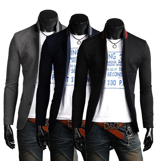 2015 New Spring Mens Suit Jacket Stand Collar Casual Business Coat Three Buttons Autumn Slim Fit Stylish Blazer Suits 2M0014