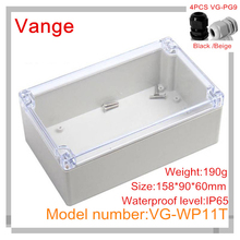 Discount packs injected housing IP65 waterproof ABS plastic enclosure box with 4pcs PG9 waterproof connectors 158*90*60mm(China (Mainland))