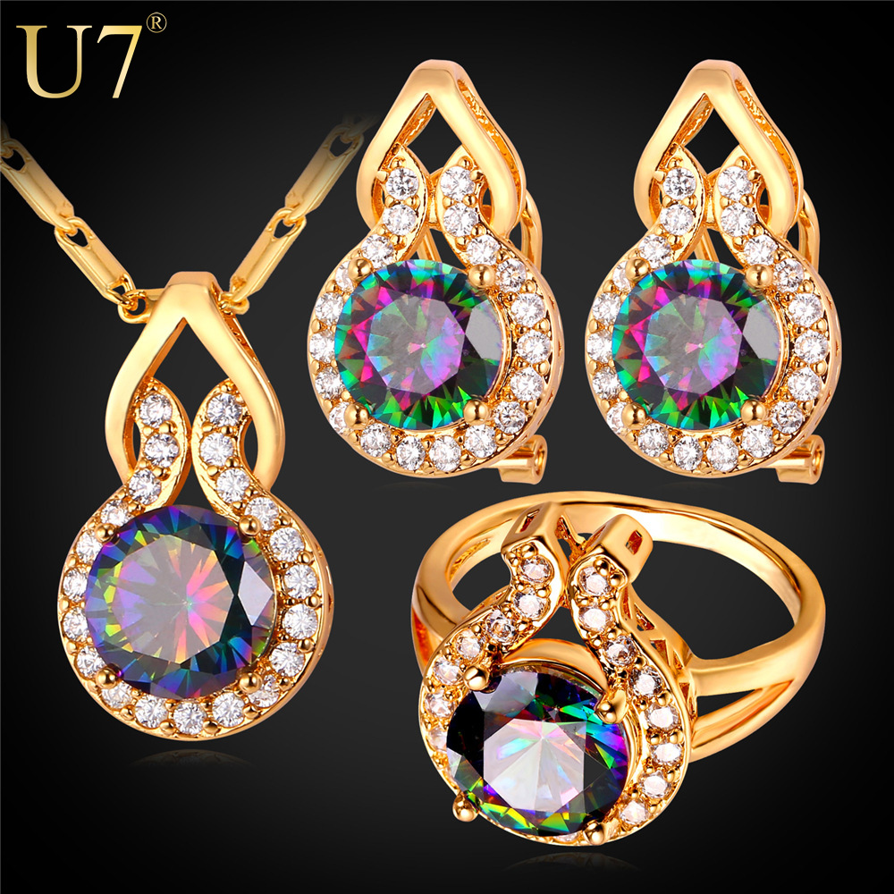 U7 Big Austrian Crystal Wedding Jewelry Sets 18K Gold /platinum Plated Round Earrings Ring Necklace Crystal Set For Women S799(China (Mainland))